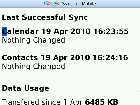 BlackBerry Google Sync