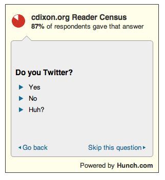 MARKETING-10.COM - Hunch.com sirve para comparar una encuesta fija y ver los resultados obtenidos en tu site en relación con las respuestas en otros sites